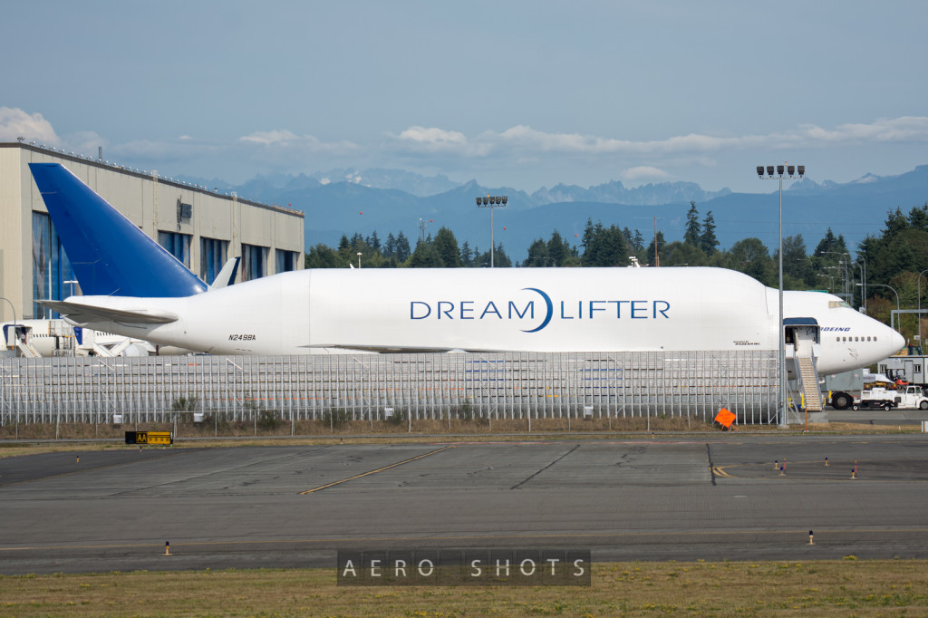This retrofitted 747, dubbed DreamLiner, is used to transport large aircraft structures between Boeing and their suppliers