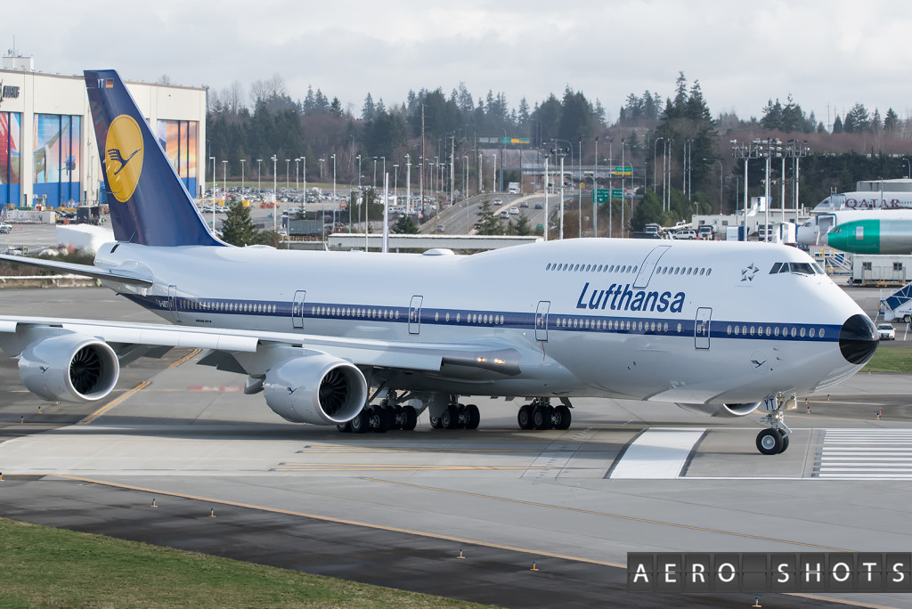 D-ABYT enters the runway at Paine Field for her FIRST flight.